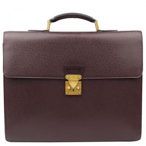 Louis Vuitton Burgundy Taiga Leather Robusto 2 Compartments Briefcase