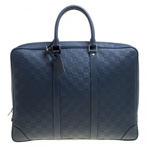 Louis Vuitton Blue Damier Infini Leather Porte Documents Voyage Briefcase
