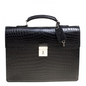 Louis Vuitton Black Crocodile Robusto Briefcase