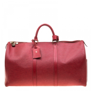Louis Vuitton Red Epi Leather Keepall 50 Bag