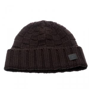 Louis Vuitton Brown Chunky Knit Logo Detail Cashmere Beanie