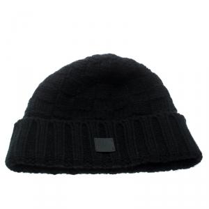 Louis Vuitton Black Chunky Knit Logo Detail Cashmere Beanie