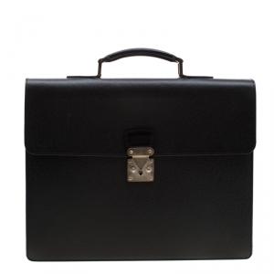 Louis Vuitton Black Taiga Leather Robusto 1 Compartment Briefcase