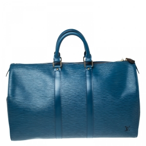 Louis Vuitton Toledo Blue Epi Leather Keepall 45 Bag