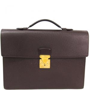 Louis Vuitton Acajou Taiga Leather Serviette Kourad Briefcase