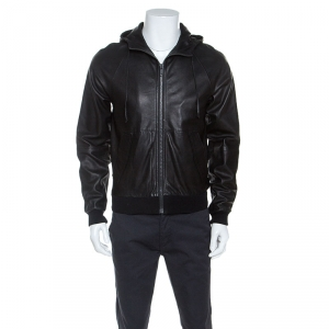 Marc by Marc Jacobs Black Leather Hooded Jacket S