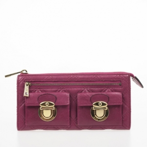 Marc Jacobs Fuchsia Quilted Leather Double Pocket Zip Wallet