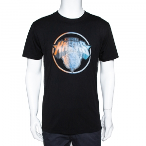 Marcelo Burlon Black Cotton NY Knicks Print Mesh Panel T-Shirt S -