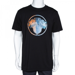 Marcelo Burlon Black Cotton NY Knicks Print Mesh Panel T Shirt L -