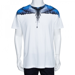 Marcelo Burlon White & Blue Wings Print Cotton Crew Neck T-Shirt M