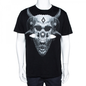Marcelo Burlon Black Graphic Print Cotton T-Shirt M - used
