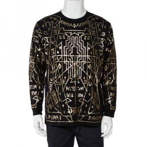 Marcelo Burlon X Harvey Nichols Black Cotton Metallic Printed Long Sleeve T-Shirt S - used