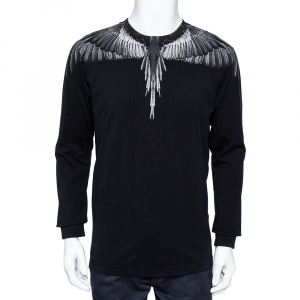Marcelo Burlon Black Wings Printed Cotton Long Sleeve T-Shirt S - used