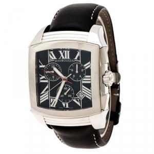 ساعة يد رجالية موبوسين كرونوغراف تليت 906 ستانلس ستيل سوداء 42 مم