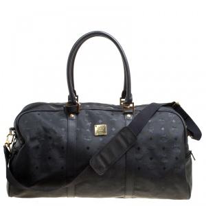 MCM Black Visetos Nylon Large Duffle Bag
