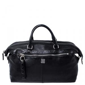 MCM Black Leather Duffle Bag