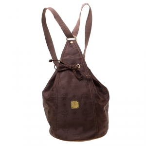 MCM Brown Nylon Sling Backpack