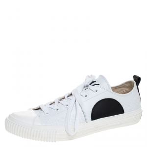 McQ by Alexander McQueen White/Black Leather And Rubber Swallow Plimsoll Low Top Sneakers Size 43