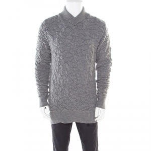 McQ by Alexander McQueen Grey Crinkle Effect Faux Wrap Collar Pullover M
