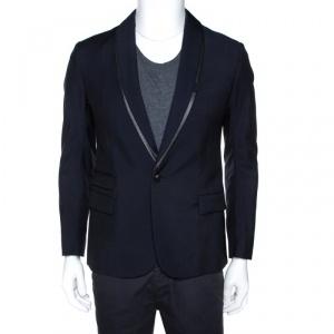 McQ by Alexander McQueen Navy Blue Twill Slim Fit Tuxedo Jacket M