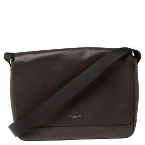 حقيبة ماسنجر مايكل كورس جت ست جلد وكانفاس مقوى شهيرة بنية