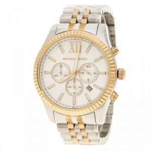 Michael Kors Silver White Two-Tone Stainless Steel Lexington MK8344 Men's Wristwatch 45 mm
