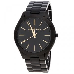 Michael Kors Black PVD Coated Steel Slim Runway MK221 Men's Wristwatch 42 mm