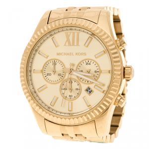 Michael Kors Gold Plated Steel Lexington Chronograph MK8281 Men's Wristwatch 45 mm