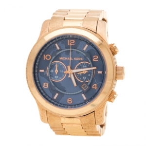 Michael Kors Blue Rose Gold Plated Stainless Steel Watch Hunger Stop Limited Edition Runway MK8358 Men's Wristwatch 45 mm