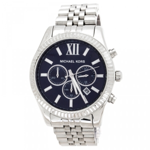 Michael Kors Navy Blue Stainless Steel Lexington MK8280 Men's Wristwatch 45 mm