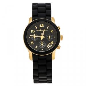 Michael Kors Black Gold Plated Steel Runway MK5191 Men's Wristwatch 39 mm