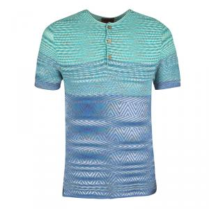 Missoni Multicolor Textured Knit Short Sleeve Henley T-Shirt M