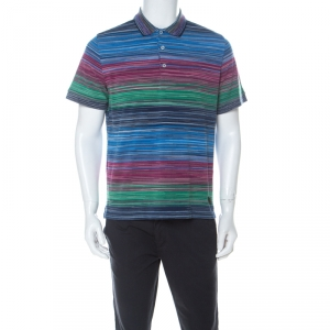 Missoni Multicolor Striped Cotton Pique Polo T Shirt L