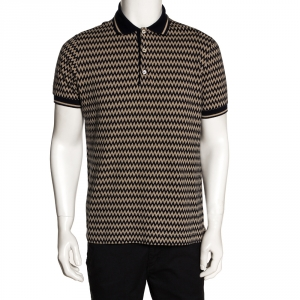 Missoni Beige & Navy Chevron Knit Polo T Shirt L
