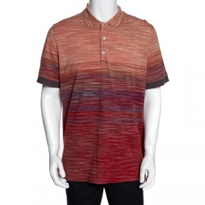 Missoni Red Cotton Knit Ombre Effect Polo T Shirt XL
