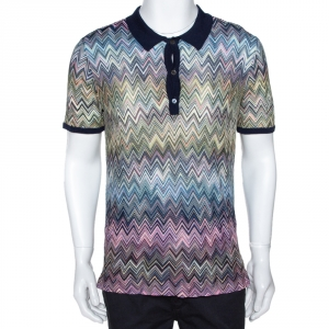 Missoni Mulitcolor Chevron Knit Contrast Collar Polo T Shirt L