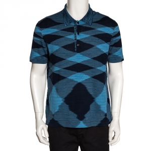 Missoni Blue Knit Graphic Print Polo T Shirt L