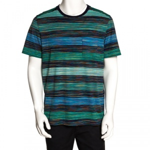 Missoni Blue & Green Striped Cotton Round Neck T-Shirt L