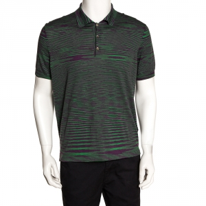 Missoni Green & Purple Intarsia Knit Polo T Shirt L
