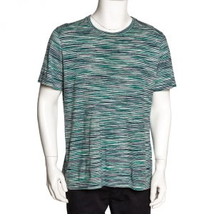 Missoni Green Striped Cotton Round Neck T Shirt L