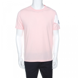 Moncler Gamme Bleu Pink Cotton Arm Stripe T-Shirt XL
