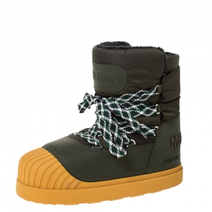 Moncler Uranus Moose Green Leather and Nylon Moon Boots Size 43
