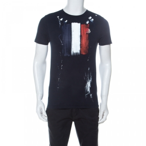 Moncler Navy Blue Hand Painted Flag Print Cotton T-Shirt M