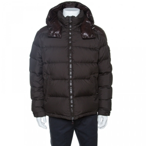 Moncler Brown Quilted Down Hooded Puffer Jacket XXL
