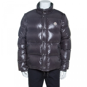 Moncler Grey Down Convertible Hooded Puffer Jacket / Vest XXL
