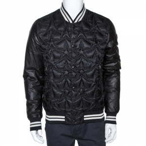 Moncler Black Star Pattern Quilted Down Auburn Jacket XL