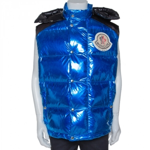 Moncler Genius Metallic Blue Palm Angels Quilted Down Vest M