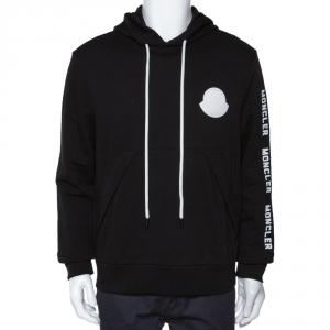 Moncler Black Maglia Logo Appliqued Cotton Hooded Sweatshirt L