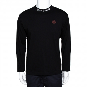 Moncler X Palm Angels Black Logo Print Cotton Long Sleeve T-Shirt M