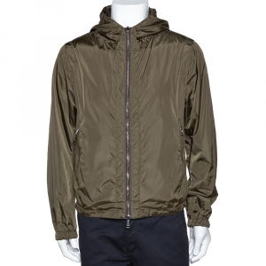 Moncler Olive Green Nylon Reversible Gobert Jacket M